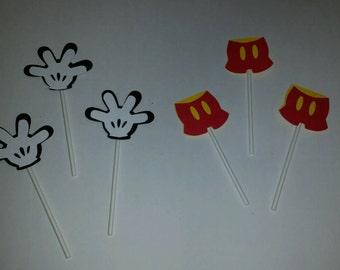 Mickey Cupcake Toppers, Cupcake Picks, Mickey Birthday Decorations