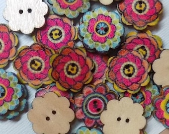 20 Wooden Multicolor  Flower Buttons - #WS-00009