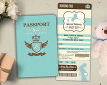 PASSPORT and TICKET baby shower invitation! Coed baby shower invitation- travel baby shower invitation- couples baby shower
