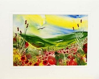 Encaustic Wax Original Art Card, Poppy Downs, Landscape