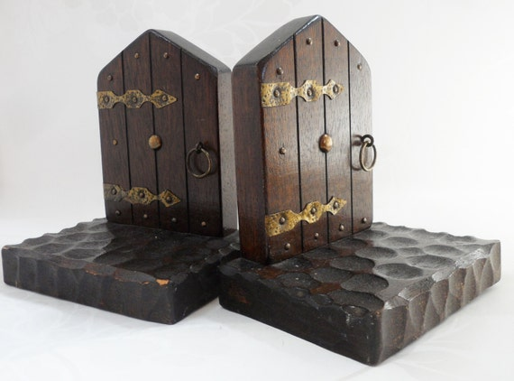 Bookends miniature gothic doors hand made vintage carved wood - Gothic bookends ...