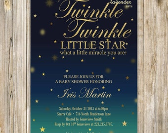 Twinkle Twinkle Little Star Baby Shower Invitation, Gold Silver Glitter Stars Baby Sprinkle Invite, Glitter Wordings, DIY Printable Digital