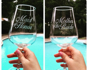Bridal Shower Custom Etched Red Wine Glasses, Maid of Honor, Bridesmaid, Mother of Bride, Mother of Groom (10% off 4 or more)