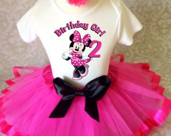 Minnie Mouse Hot Pink Black Polka dots Birthday Age 2 2nd Second Shirt & Tutu Set Girl Outfit Party Dress Headband Custom Size