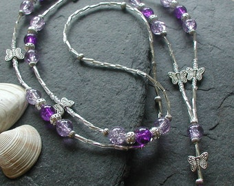 Lilac Purple Glass Beads Butterfly ID Lanyard Badge Holder ID Necklace