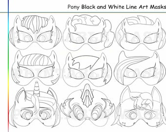 Coloring Pages Pony Party Printable Black And White Line Art Masks Kids Costume Birthday
