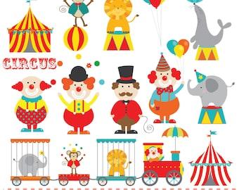 Circus train,clowns, circus tent, digital clip art set
