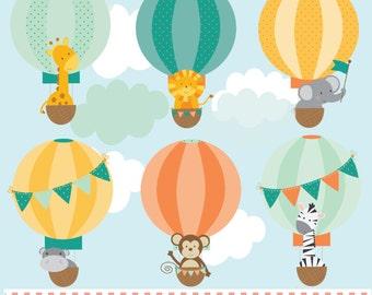 Baby animals in hot air balloons, digital clip art set