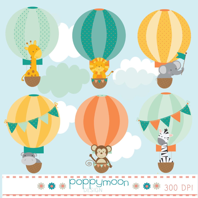 Baby animals in hot air balloons digital clip art set - Globos aerostaticos infantiles ...