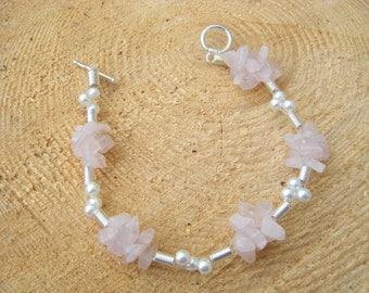 Bracelet with Rose Quartz & Pearls