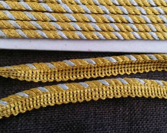 2 Yards Gold Piping Lace Trim 1/2 Inch Wide