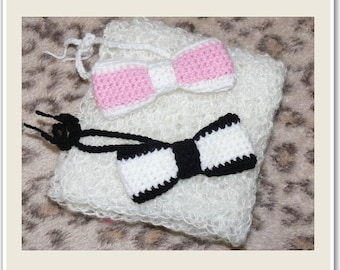 Newborn Baby White Crocheted Wrap 65x36cm and Bowties