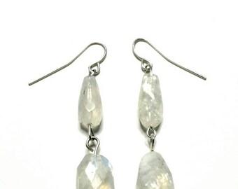 Real Moonstone Drop Earrings