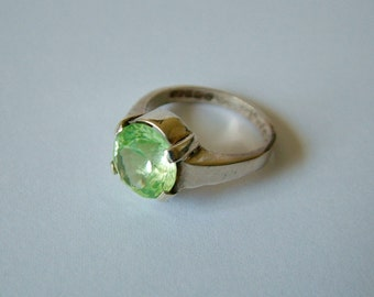 Sterling silver ring with pale green quartz stone