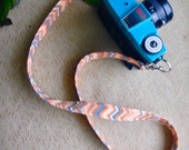 Orange Chevron Skinny Camera Strap