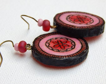 Pink Eucalyptus Seedpod Earrings - Handmade & Eco-friendly