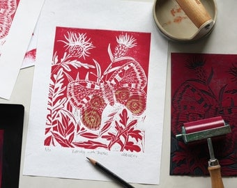 Linocut butterfly print, butterfly and thistles, A4, handmade paper, wall art, home decor, chine colle,