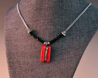 Eclectic red reactive fused glass pendant