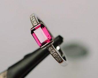 natural pyrope garnet ring gemstone silver natural gemstone ring January birthstone ring engagemetn ring