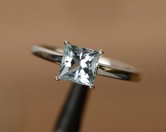 March birthstone ring natural aquamarine ring princess aquamarine gemstone ring solitaire ring sterling silver ring