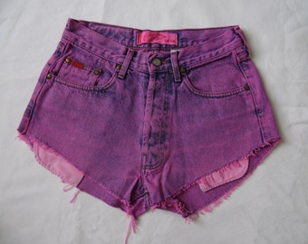 High waisted shorts, vintage Lee Cooper dyed pink distressed denim jean pockets showing shorts, cut off frayed hotpants, small waist 27 W28