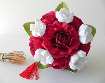 Handmade wedding bouquet, red and white bridesmaid bouquet, roses bridal bouquet, alternative bouquet, origami bridesmaids wedding bouquet