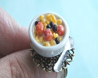 breakfast cereals ring- miniature food jewelry, food ring, cornflakes cereals