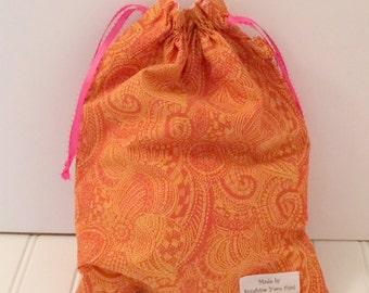 Bohemian Tangerine Draw String Bag
