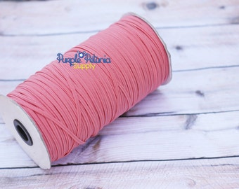 "Coral elastic, 1/8"" elastic, coral skinny elastic, elastic by the yard"