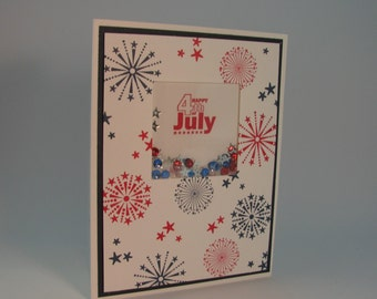 Stampin' Up! Fourth of July Shaker Card