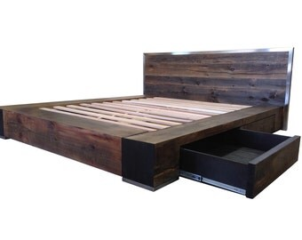Bed Noir - Industrial Reclaimed Wood Platform Bed with Stainless Steel Accents and Four Drawers