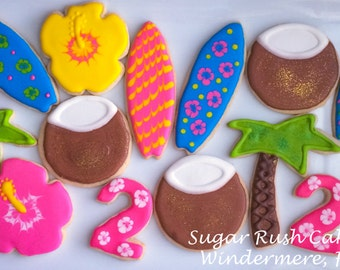 Luau Beach themed cookies