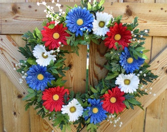 Full patriotic, 4th of July, red, white and blue, USA daisy wreath