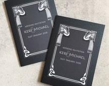 Pocketfold Wedding Invitations | Art Nouveau | Peacock | Great Gatsby Theme