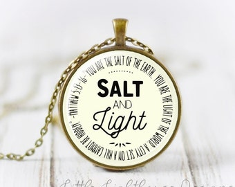 Large Salt and Light Pendant Salt and Light Necklace Christian Necklace Christian Jewelry Scripture Pendant Large Pendant Inspirational Gift