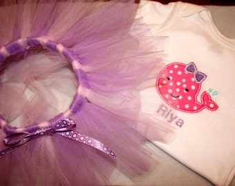 Embroidered Personalized Bodysuit with Whale Applique and Coordinating Tutu  marching bow available