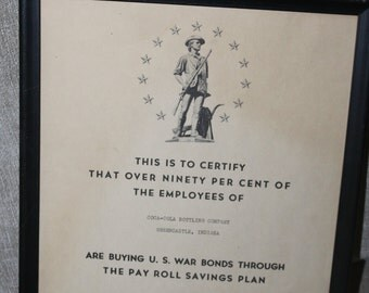 SALE Official Certificate of Employees Buying U.S. War Bonds, Pay Roll Savings Plan for Coca Cola Bottling Company, Greencastle, Indiana