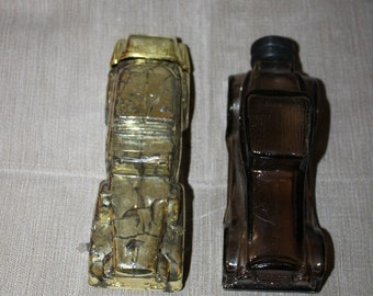 Vintage Avon Sterling Six Roadster & Gold Cadillac Decanters, Bottles, Old Fashioned Cars, After Shave, Cologne, Men, Very Collectible