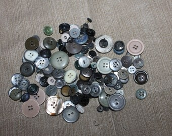 122 Vintage Buttons, Different Colors, Different Materials & Sizes, Great for Crafting or Sewing Projects, Collectibles, Grey Shades, NICE