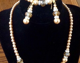 Golden Glass Pearls with Champagne crystals