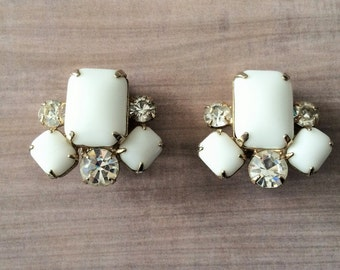 Vintage Milk Glass  RHINESTONE EARRINGS /  Clip On earrings / 1950's / Gold Plated / Gift Boxed