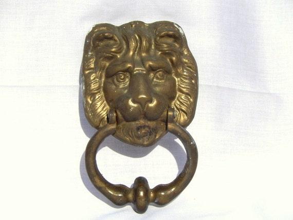 Price Reduced Vintage Solid Brass Lion Head Door Knocker