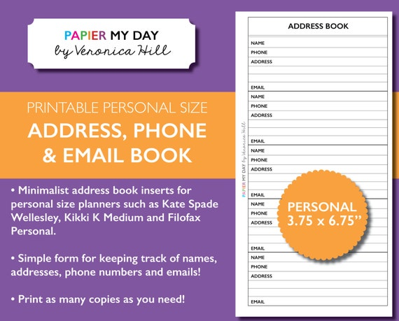 personal filofax address book printable address book for