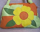 Bag for girl,Bag for child,  Applique flower,Artificial leather,vinyl,Little girls gift,Green,Orange,Yellow,Bright cheerful bag