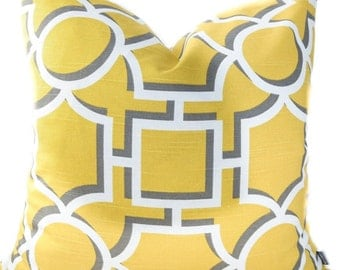 Bright yellow pillow cover - Trellis pillow in yellow, white, dandelion, gray - Asian Oriential toss pillow