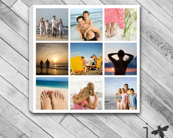 """Customized 9 Photo Collage - Stretched Canvas Size 12""""x12"""" and up"""
