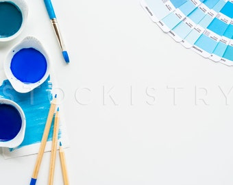 Blue Watercolor & Pantone Desktop Styled Stock Photography, Small Business Branding, Digital Download, Watercolor Paint Stock Photography