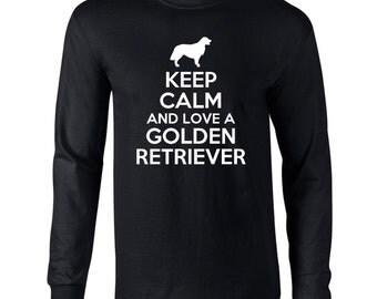 Keep Calm And Love A Golden Retriever Mens Long Sleeve T-Shirt Funny Dog Keep Calm Tee