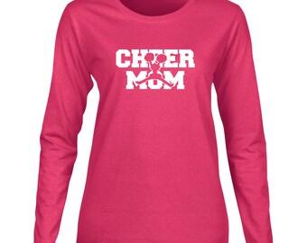 Cheer Mom Long Sleeve T Shirt. Womens Long Sleeve T Shirt. Proud Parent. Sports T Shirt. Cheer Shirt. Cheerleader Mom. D48