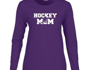 Hockey Mom Long Sleeve T Shirt. Womens Long Sleeve T Shirt. Proud Parent. Sports T Shirt. Ice Hockey Shirt. Hockey Mom Shirt. D54